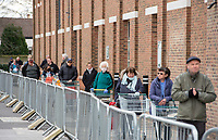 Shoppers in the queue at Morrisons during the Coronavirus pandemic at Sidcup, Kent, England on 2 April 2020. Photo by Alan Stanford.