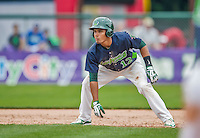 9 July 2015: Vermont Lake Monsters infielder Richie Martin takes a lead off first during a game against the Mahoning Valley Scrappers at Centennial Field in Burlington, Vermont. The Lake Monsters rallied to tie the game 4-4 in the bottom of the 9th, but fell to the Scrappers 8-4 in 12 innings of NY Penn League play. Mandatory Credit: Ed Wolfstein Photo *** RAW Image File Available ****