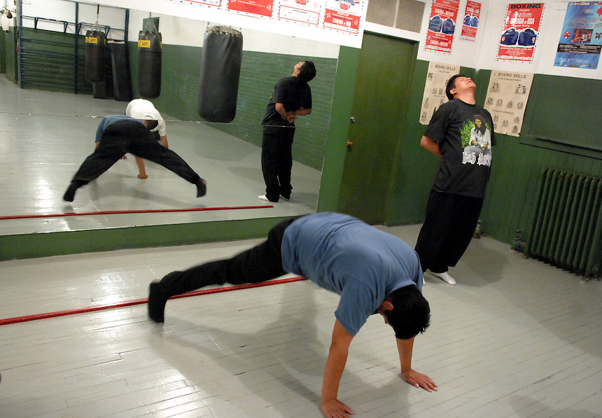 Participants from a North Central youth employment program are put through a workout during a visit to the Regina Boxing Club. MARK TAYLOR GALLERY