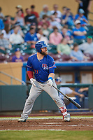 Cameron Rupp (21) of the Round Rock Express bats against the Omaha Storm Chasers at Werner Park on May 27, 2018 in Papillion , Nebraska. Round Rock defeated Omaha 8-3. (Stephen Smith/Four Seam Images)