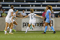 Chicago, IL - Wednesday Sept. 07, 2016: Shea Groom celebrates scoring, Caroline Kastor during a regular season National Women's Soccer League (NWSL) match between the Chicago Red Stars and FC Kansas City at Toyota Park.