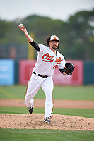 Baltimore Orioles relief pitcher Zach Stewart (50) delivers a pitch during a Spring Training exhibition game against the Dominican Republic on March 7, 2017 at Ed Smith Stadium in Sarasota, Florida.  Baltimore defeated the Dominican Republic 5-4.  (Mike Janes/Four Seam Images)