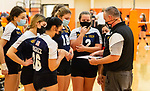 PLYMOUTH, CT-111020JS11 —Wolcott Tech head coach Ray Tanguay talks with his team prior to their match against Terryville Tuesday at Terryville High School. <br /> Jim Shannon Republican-American