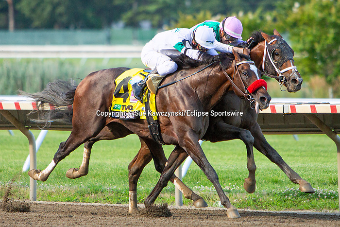 """JULY 17, 2021: Mandaloun, #3, ridden by Florent Geroux, wins the """"Win & You're In"""" Gr.1  Haskell Stakes,via disqualification, going 1 1/8  mile, at Monmouth Park in Oceanport, NJ.  Sue Kawczynski/Eclipse Sportswire/CSM"""