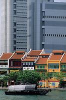 Asie/Singapour/Singapour: La rivière Singapour et Boat Quay