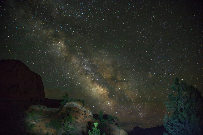 The Milky Way appears on the Eastside of Zion National Park, Utah
