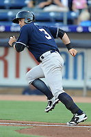 Empire State catcher Francisco Cervelli #3 runs to first during a game against the Durham Bulls  at Durham Bulls Athletic Park on June 8, 2012 in Durham, North Carolina . The Yankees defeated the Bulls 3-1. (Tony Farlow/Four Seam Images).