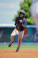Lowell Spinners designated hitter Xavier LeGrant (15) runs the bases during a game against the Staten Island Yankees on August 22, 2018 at Richmond County Bank Ballpark in Staten Island, New York.  Staten Island defeated Lowell 10-4.  (Mike Janes/Four Seam Images)