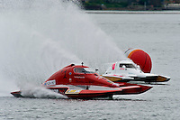 """13-14 June, 2009, APBA Inboards, Walled Lake, Novi, MI. USA.Brandon Kennedy, T-1 """"Shameless Say What?"""", 1 Litre Stock hydroplane and Alexis Weber, T-10 """"Flirtin' With Disaster"""", 1 Litre Stock hydroplane.©F. Peirce Williams 2009 USA.F.Peirce Williams.photography.ref: RAW (.NEF) File Available"""