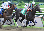 """16 August 2008: Jockey Edgar Prado guides two-year-old first-time starter Obsequious to victory at Saratoga Race Course in Saratoga Springs, New York.  Saratoga is not only known for big stakes races, but for the """"Spa Babies"""" who will contend for the Kentucky Derby next year."""