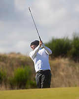 1st October 2021; Kingsbarns Golf Links, Fife, Scotland; European Tour, Alfred Dunhill Links Championship, Second round; Alex Noren of Germany hits a shot from the fairway on the fifth hole at Kingsbarns Golf Links