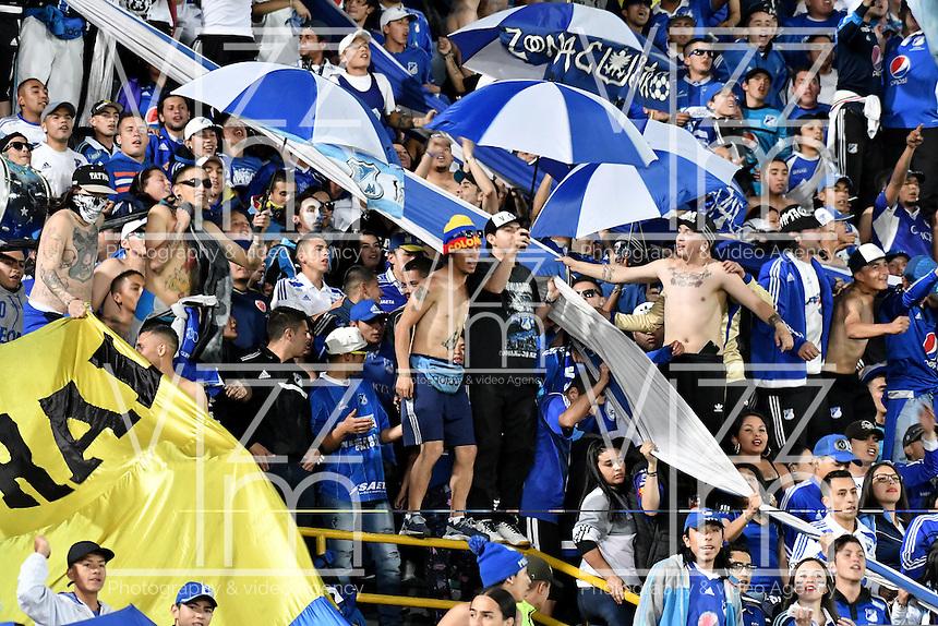 BOGOTA - COLOMBIA - 05 - 02 - 2017: Hinchas de Millonarios animan a su equipo durante partido de la fecha 1 entre Millonarios y Deportivo Independiente Medellin, de la Liga Aguila I-2017, jugado en el estadio Nemesio Camacho El Campin de la ciudad de Bogota.  / Fans of Millonarios cheer for their team during a match between Millonarios and Deportivo Independiente Medellin, for the date 1 of the Liga Aguila I-201/ at the Nemesio Camacho El Campin Stadium in Bogota city, Photo: VizzorImage / Luis Ramirez / Staff.