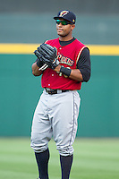 Zoilo Almonte (40) of the Scranton/Wilkes-Barre RailRiders warms up in the outfield prior to the game against the Charlotte Knights at BB&T Ballpark on July 17, 2014 in Charlotte, North Carolina.  The Knights defeated the RailRiders 9-5.  (Brian Westerholt/Four Seam Images)