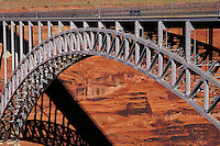 Bridge spanning the Colorado River situated adjacent to the Glen Canyon Dam. transportation, river, steel, curve. Page Arizona USA Glen Canyon.