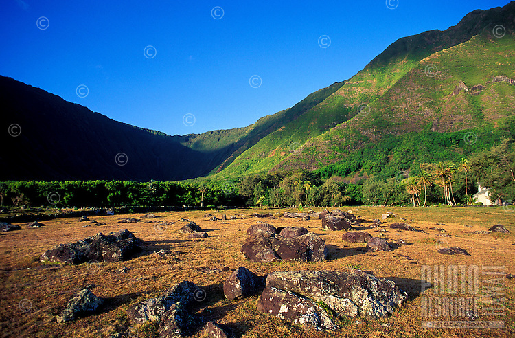 Rocks in the Kalawao area of the Kalaupapa peninsula, with St. Philomena Church peeking out in the background