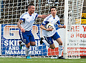 Peterhead's Cameron Kerr (2) celebrates after he scores their goal.