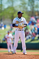 Montgomery Biscuits starting pitcher Jose Mujica (23) gets ready to deliver a pitch during a game against the Mississippi Braves on April 25, 2017 at Montgomery Riverwalk Stadium in Montgomery, Alabama.  Mississippi defeated Montgomery 3-2.  (Mike Janes/Four Seam Images)