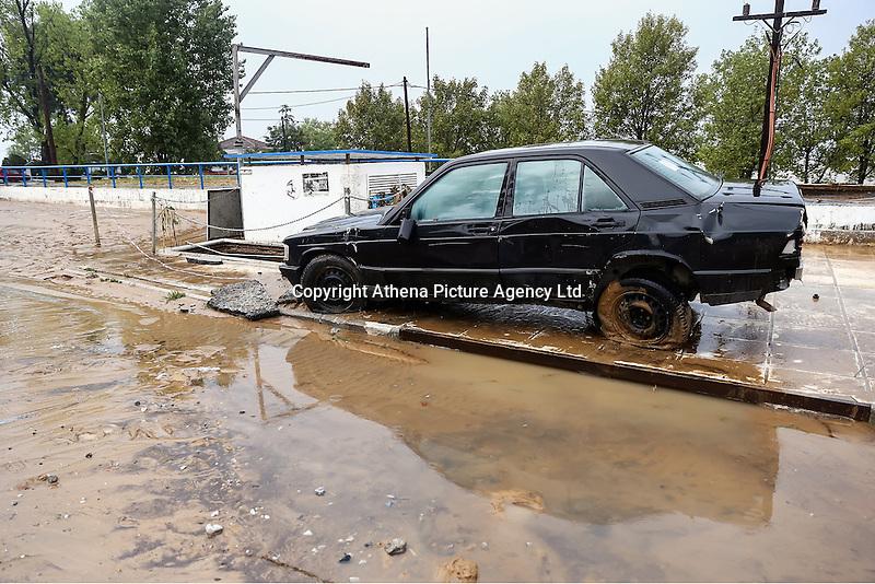 A Mercedes car in a muddied road in Nea Mihaniona