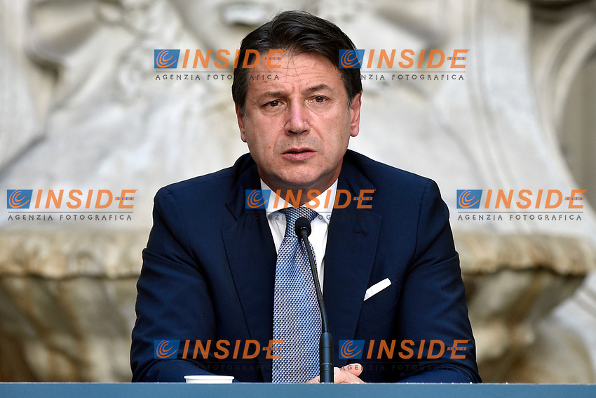 The Italian Premier Giuseppe Conte during the press conference at Palazzo Chigi, about the measures to contrast the Covid-19 pandemic at the reopening of the schools on September 14th.<br /> Rome (Italy), September 9th 2020<br /> Photo Pool Paolo Tre Insidefoto