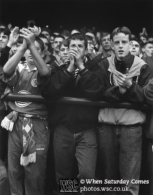 3 young fans in The Holgate End. Boro 2 Villa 3, 26th September 1992. Photo by Paul Thompson