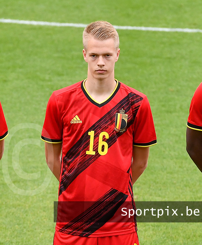 Arthur Vermeeren (16) of Belgium pictured in action during a soccer game between the national teams Under17 Youth teams of  Norway and Belgium on day 3 in the Qualifying round in group 3 on Tuesday 12 th of October 2020  in Tubize , Belgium . PHOTO SPORTPIX   DAVID CATRY