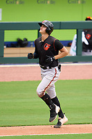 FCL Orioles Orange third baseman Coby Mayo (2) rounds the bases after hitting a home run during a game against the FCL Braves on July 22, 2021 at the CoolToday Park in North Port, Florida.  (Mike Janes/Four Seam Images)