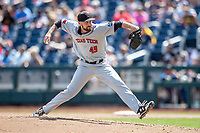 Texas Tech Red Raiders pitcher Ryan Sublette (49) delivers a pitch to the plate during Game 11 of the NCAA College World Series against the Michigan Wolverines on June 21, 2019 at TD Ameritrade Park in Omaha, Nebraska. Michigan defeated Texas Tech 15-3 and is headed to the CWS Finals. (Andrew Woolley/Four Seam Images)