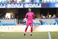 SAN JOSE, CA - MAY 22: JT Marcinkowski #1 of the San Jose Earthquakes celebrates during a game between Sporting Kansas City and San Jose Earthquakes at PayPal Park on May 22, 2021 in San Jose, California.