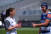 Referee Bex Mahoney explains a decison to Auckland captain Eloise Blackwell during the Farah Palmer Cup women's rugby union match between Auckland Storm and Waikato at Eden Park in Auckland, New Zealand on Sunday, 18 October 2020. Photo: Dave Lintott / lintottphoto.co.nz