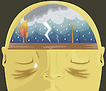 Close-up of a human head consisting with heavy rains depicting headache