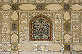 Jaipur, India. The Amber Fort. Beautiful carving and mirror inlay work of flowers.