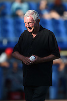 Florida State League President Ken Carson after throwing out the ceremonial first pitch before a game between the Clearwater Threshers and Dunedin Blue Jays on April 10, 2015 at Florida Auto Exchange Stadium in Dunedin, Florida.  Clearwater defeated Dunedin 2-0.  (Mike Janes/Four Seam Images)