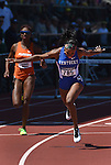 13 JUNE 2015: Kendra Harrison of Kentucky crosses the finish line to win the Women's 100 meter Hurdles during the Division I Men's and Women's Outdoor Track & Field Championship held at Hayward Field in Eugene, OR. Harrison won the event in a time of 12.55. Steve Dykes/ NCAA Photos