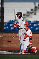 Danville Braves shortstop Nicholas Shumpert (1) at bat during a game against the Johnson City Cardinals on July 29, 2018 at TVA Credit Union Ballpark in Johnson City, Tennessee.  Johnson City defeated Danville 8-1.  (Mike Janes/Four Seam Images)