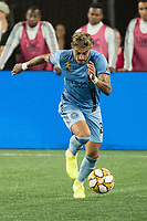 FOXBOROUGH, MA - SEPTEMBER 29: Ronald Matarrita #22 of New York City FC brings the ball forward during a game between New York City FC and New England Revolution at Gillettes Stadium on September 29, 2019 in Foxborough, Massachusetts.
