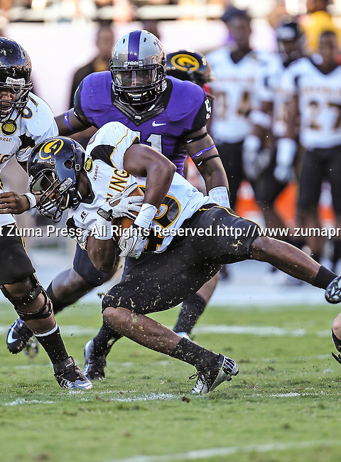 Grambling State Tigers running back Dawrence Roberts (43) in action during the game between the Grambling State Tigers and the TCU Horned Frogs  at the Amon G. Carter Stadium in Fort Worth, Texas. TCU defeats Grambling State 59 to 0.