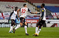 Bolton Wanderers' Antoni Sarcevic (centre) celebrates scoring his side's first goal <br /> <br /> Photographer Andrew Kearns/CameraSport<br /> <br /> The EFL Sky Bet League Two - Bolton Wanderers v Mansfield Town - Tuesday 3rd November 2020 - University of Bolton Stadium - Bolton<br /> <br /> World Copyright © 2020 CameraSport. All rights reserved. 43 Linden Ave. Countesthorpe. Leicester. England. LE8 5PG - Tel: +44 (0) 116 277 4147 - admin@camerasport.com - www.camerasport.com