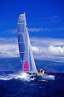 Beautiful catamaran of the coast of Maui