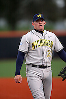April 11, 2008:  University of Michigan Wolverines starting infielder Nate Recknagel (21) against the University of Illinois Fighting Illini at Illinois Field in Champaign, IL.  Photo by:  Chris Proctor/Four Seam Images