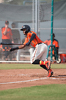 San Francisco Giants center fielder Heliot Ramos (31) starts down the first base line during an Instructional League game against the Kansas City Royals at the Giants Training Complex on October 17, 2017 in Scottsdale, Arizona. (Zachary Lucy/Four Seam Images)