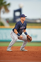 Jacksonville Jumbo Shrimp third baseman Brian Schales (13) during a game against the Pensacola Blue Wahoos on August 15, 2018 at Blue Wahoos Stadium in Pensacola, Florida.  Jacksonville defeated Pensacola 9-2.  (Mike Janes/Four Seam Images)