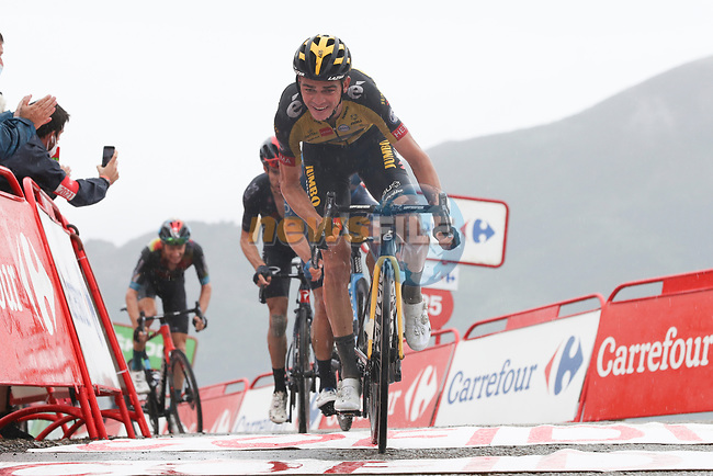 Sepp Kuss (USA) Jumbo-Visma crosses the line in 2nd place at the end of Stage 17 of La Vuelta d'Espana 2021, running 185.8km from Unquera to Lagos de Covadonga, Spain. 1st September 2021.    <br /> Picture: Luis Angel Gomez/Photogomezsport | Cyclefile<br /> <br /> All photos usage must carry mandatory copyright credit (© Cyclefile | Luis Angel Gomez/Photogomezsport)