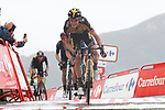 Sepp Kuss (USA) Jumbo-Visma crosses the line in 2nd place at the end of Stage 17 of La Vuelta d'Espana 2021, running 185.8km from Unquera to Lagos de Covadonga, Spain. 1st September 2021.    <br /> Picture: Luis Angel Gomez/Photogomezsport   Cyclefile<br /> <br /> All photos usage must carry mandatory copyright credit (© Cyclefile   Luis Angel Gomez/Photogomezsport)