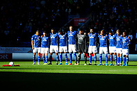 Cardiff City take part in the minute of silence during the Sky Bet Championship match between Cardiff City and Bristol City at the Cardiff City Stadium in Cardiff, Wales, UK. Sunday 10 November 2019