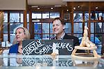 © Joel Goodman - 07973 332324 . 15/01/2015 . Stockport , UK . Deputy Prime Minister Nick Clegg (r) visits Cowburn's Family Backery on High Lane in Hazel Grove with Lib Dem PPC for Hazel Grove , Lisa Smart (l) . Photo credit : Joel Goodman