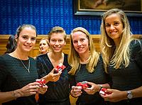 Den Bosch, The Netherlands, Februari 07 2019,  Maaspoort , FedCup  Netherlands - Canada, official dinner Dutch team with presents, lor: Bibiane Schoofs, Demi Schuurs, Richel Hogenkamp and Arantxa Rus.<br /> Photo: Tennisimages/Henk Koster