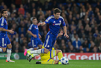 Tal Ben Haim I(former Chelsea player) of Maccabi Tel Aviv brings down Oscar of Chelsea during the UEFA Champions League match between Chelsea and Maccabi Tel Aviv at Stamford Bridge, London, England on 16 September 2015. Photo by Andy Rowland.