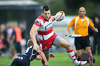 20120803 Copyright onEdition 2012©.Free for editorial use image, please credit: onEdition..Rob Langley of Gloucester Rugby in action against Sale Sharks 7s at The Recreation Ground, Bath in the Final round of The J.P. Morgan Asset Management Premiership Rugby 7s Series...The J.P. Morgan Asset Management Premiership Rugby 7s Series kicked off again for the third season on Friday 13th July at The Stoop, Twickenham with Pool B being played at Edgeley Park, Stockport on Friday, 20th July, Pool C at Kingsholm Gloucester on Thursday, 26th July and the Final being played at The Recreation Ground, Bath on Friday 3rd August. The innovative tournament, which involves all 12 Premiership Rugby clubs, offers a fantastic platform for some of the country's finest young athletes to be exposed to the excitement, pressures and skills required to compete at an elite level...The 12 Premiership Rugby clubs are divided into three groups for the tournament, with the winner and runner up of each regional event going through to the Final. There are six games each evening, with each match consisting of two 7 minute halves with a 2 minute break at half time...For additional images please go to: http://www.w-w-i.com/jp_morgan_premiership_sevens/..For press contacts contact: Beth Begg at brandRapport on D: +44 (0)20 7932 5813 M: +44 (0)7900 88231 E: BBegg@brand-rapport.com..If you require a higher resolution image or you have any other onEdition photographic enquiries, please contact onEdition on 0845 900 2 900 or email info@onEdition.com.This image is copyright the onEdition 2012©..This image has been supplied by onEdition and must be credited onEdition. The author is asserting his full Moral rights in relation to the publication of this image. Rights for onward transmission of any image or file is not granted or implied. Changing or deleting Copyright information is illegal as specified in the Copyright, Design and Patents Act 1988. If you are in any way unsure of your right to publish this i