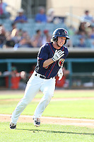 Brett Phillips #15 of the Lancaster JetHawks runs the bases against the Inland Empire 66ers during a playoff game at The Hanger on September 7, 2014 in Lancaster, California. Lancaster defeated Inland Empire, 5-2. (Larry Goren/Four Seam Images)