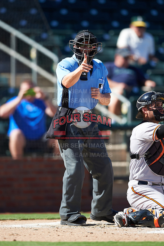 Umpire Alberto Ruiz during an Arizona Fall League game between the Surprise Saguaros and Peoria Javelinas on October 20, 2016 at Surprise Stadium in Surprise, Arizona.  Peoria defeated Surprise 6-4.  (Mike Janes/Four Seam Images)